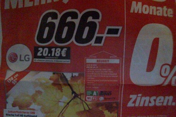 (MM lokal HH ?) LG 55 UF 6809 4K für 666 Euro (Idealo: ab 948 Euro)