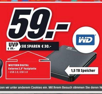 (Lokal) Western Digital Elements Portable 1,5TB USB 3.0 @ Dortmund Mediamarkt Oespel Indupark