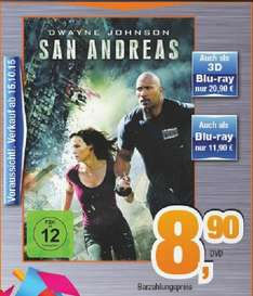 [Regional Norddeutschland] San Andreas BD 11,90, 3D 20,90, DVD 8,90 bei expert Bening