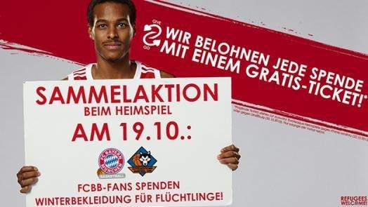 [lokal München] Winterkleidung spenden und gratis Ticket für ein Euroleague-Spiel des FC Bayern Basketball im Wert von mindestens 12€ erhalten