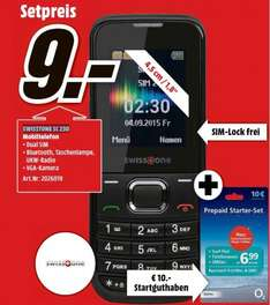 "[lokal München] Swisstone SC230 1.77"" Dual SIM Mobiltelefon + O2 Prepaid Starterset für 9€ @ Media Markt"
