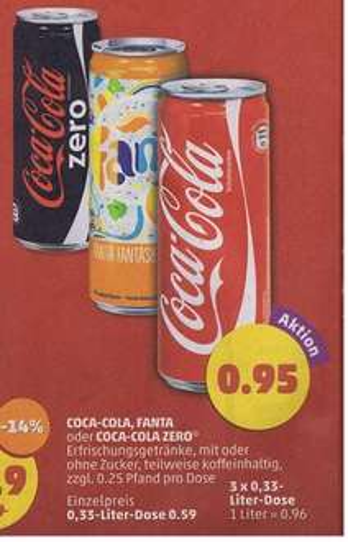 [ Penny ] 3 Dosen (0,33l) Coca Cola (auch Zero) ,Fanta für 95 Cent ab dem 19.10.15