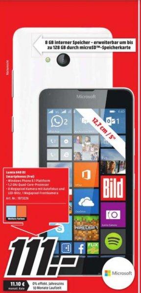 [Lokal MM Weiterstadt] Microsoft Lumia 640 Dual-Sim für 111€ mit Windows Phone 8.1