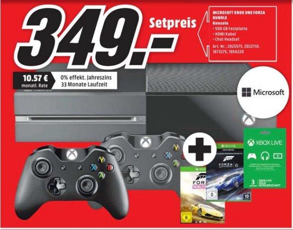 [Lokal Mediamarkt Neumünster] Microsoft Xbox One 500GB + Forza: Horizon 2 + Forza Motorsport 6 + 2.Controller + 3 Monate Xbox Live für 349,-€
