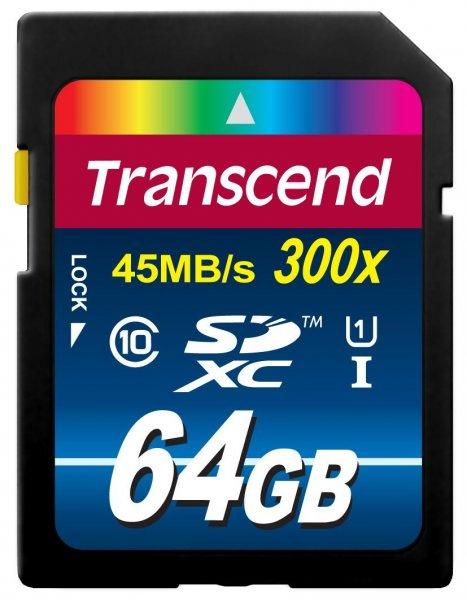 [Amazon] Transcend TS64GSDU1 Class 10 UHS-I Premium SDXC 64GB Speicherkarte (300x) [Amazon frustfreie Verpackung]