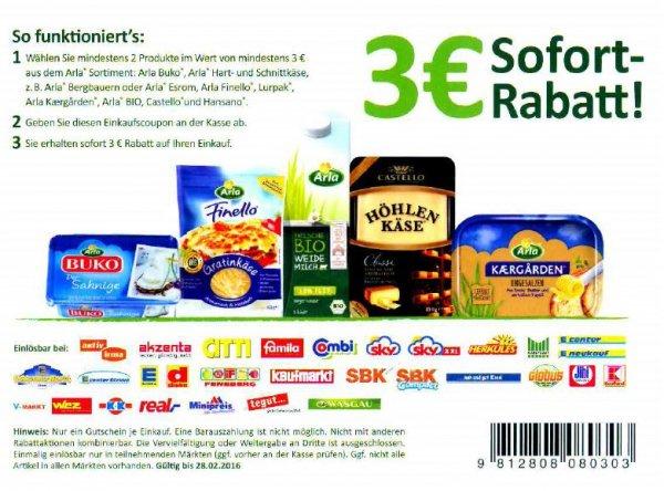 Arla Lebensmittel 3 Euro GRATIS