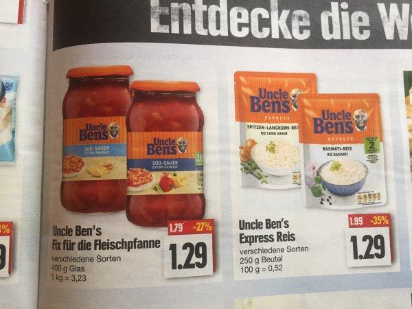 [Edeka] [Nordbayern/Thüringen] Uncle Ben's Fix für Fleischpfanne & Express Reis mit Coupon 0,29€