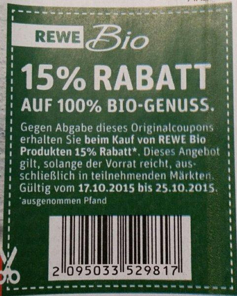 Rewe Bio 15 Prozent Coupon 17.10-25.10.2015 nur offline