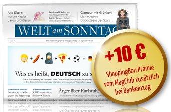 9 Ausgaben der Welt am Sonntag für 23,40€ mit 25€ Universalgutschein