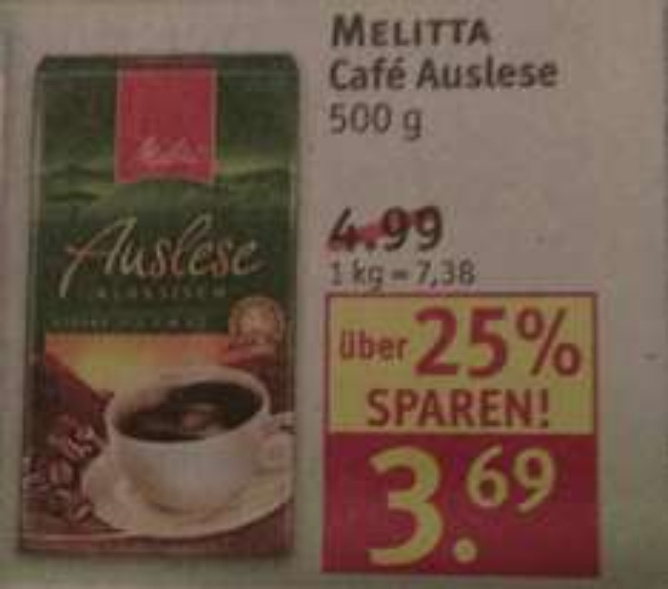 Rossmann Melitta Kaffee 500g mit 10% Gutschein nur 3,32 Euro