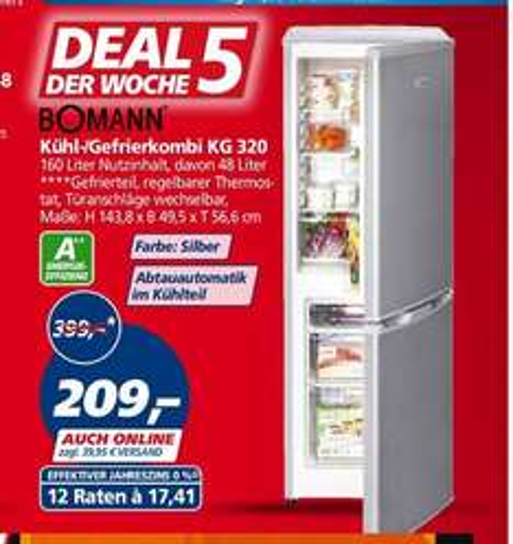 [Real] Bomann KG 320 Kühl-Gefrierkombi / A++ (Silber)