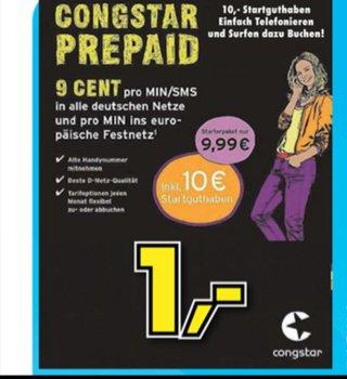 [Lokal Euronics Lebach]Congstar Starter Pack Prepaid mit 10€ Startguthaben für 1€