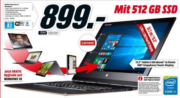 """[Lokal Mediamärkte Berlin und Umgebung] Lenovo Yoga 3 Pro Orange 80HE004KGE Ultrabook 13"""" QHD+/ Core M5Y70/ 8GB/ 512GB SSD/ Win8.1 für 899,-€"""