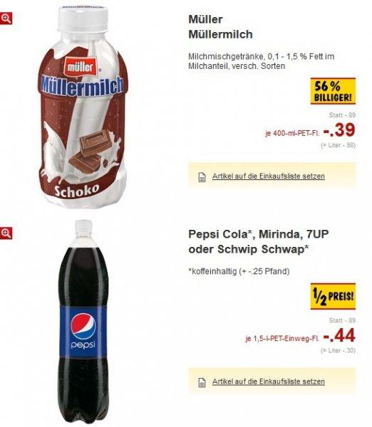 [Lokal Kaufland Region Heilbronn/Hohenlohe] Müller Milch für 0,39€; Pepsi/Mirinda/7UP/SchwipSchwap 1,5l für 0,44€