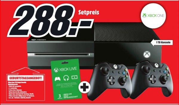 [Special Deal für Österreicher-Lokal Mediamarkt Lugner City] Xbox One mit 1 TB + 2 Controller + 3 Monate Xbox Live Gold für 288€