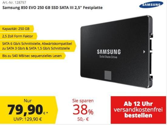 Samsung EVO 850 SSD 250GB - comtech quickdeal * ab 12 Uhr