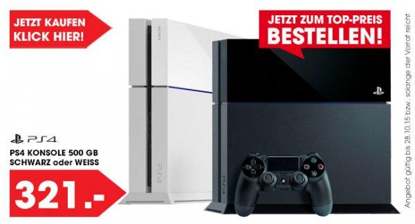 PS4 500 GB in Schwarz oder Weiß um 321,-
