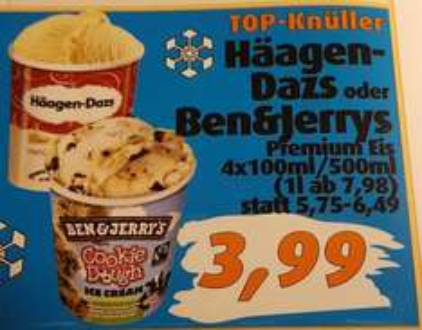 LOKAL - Oldenburg / aktiv irma - ab 21.10.: Häagen-Dazs oder Ben & Jerry's 500ml/4x100ml je 3,99 Euro.