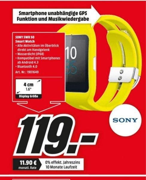 (lokal)Sony SmartWatch 3 SWR50 Silikon-Sportarmband gelb@ Mediamarkt (Rhein Ruhr Gebiet)
