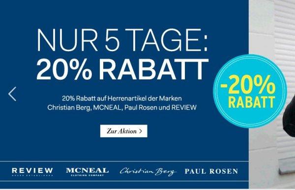 [Fashion ID] 20% Rabatt auf Herrenartikel von McNeal, Christian Berg, Paul Rosen und Review, keine VSK