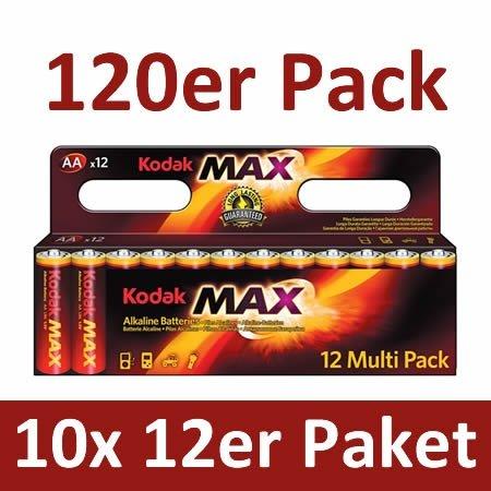 [Eltronics] 120 Stück Kodak MAX AA Alkaline Mignonbatterien (AA) für 14,80€ inc. Versand
