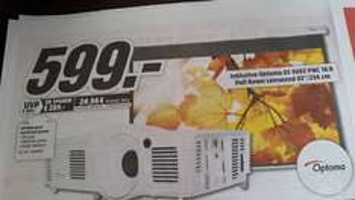 "Optoma HD 26 1080p HD DLP Beamer + Optoma 92"" DS 9092 PWC 16:9 Leinwand @ Mediamarkt"
