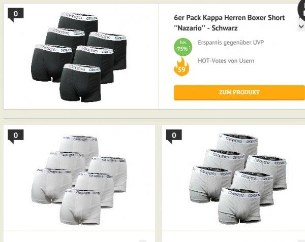 [Dealclub] Wieder da....Kappa Boxershort Nazario 6er Pack (Farben: schwarz,grau,weiß) für 22,22€ Versandkostenfrei