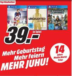 [Lokal Mediamarkt Trier] Nur am Sonntag 25.10- PS4 Spiele....Fifa16,Uncharted: The Nathan Drake Collection,Assassin's Creed: Syndicate - Special Edition für je 39,-€ oder alle 3 für 78,-€ (Einzelpreis je Spiel 26,-€)