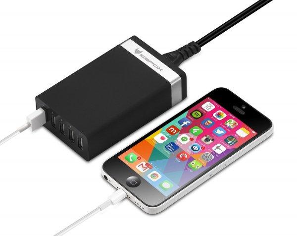 Amazon.de: 40W 5-Port High Speed Desktop-USB-Ladegerät mit intelligenter IC Lade-Technologie, tragbares Reise-Ladegerät (schwarz)