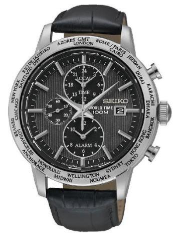 [timeshop24.de] Seiko World Timer SPL049P2 Herren Edelstahluhr mit Alarmfunktion und Lederarmband für 112,14€ incl.Versand!
