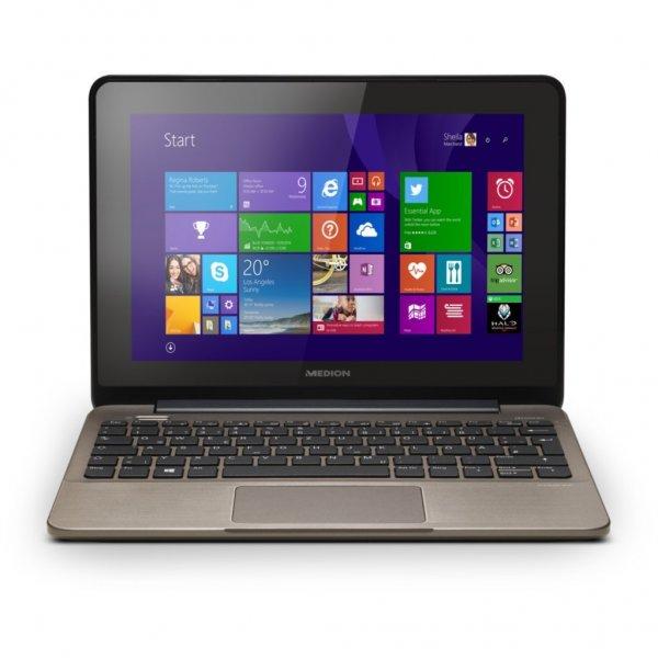 """[Medion] AKOYA® E1232T (MD 99410) (B-Ware) - Einfaches 10,1"""" Multitouch-Netbook (IPS, 1280x800) mit Celeron,  4 GB RAM, 500 GB HDD, Win 8.1 und HDMI, Office Home  & Student 2013 - 149 € mit Gutschein"""