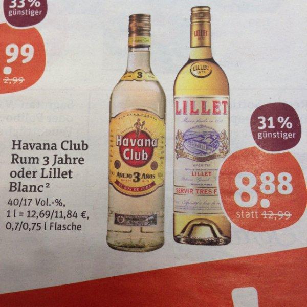 [tegut] Havana Club Rum 3 Jahre oder Lillet Blanc