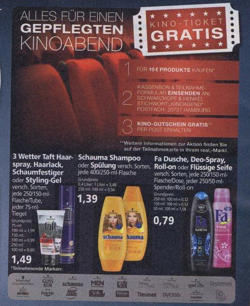 [Real]  Für 10€ Schwarzkopf&Henkel Produkte kaufen und Kino-Gutschein per Post erhalten