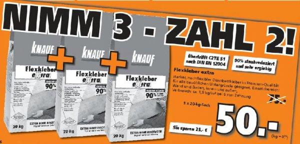 [Globus-Baumarkt] Knauf Flexkleber extra 3 x 20Kg für 50 Euro