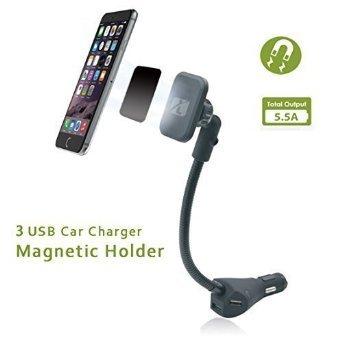 Magnetische Autohalterung, Leebotree Magnetische Autohalterung mit 3fach-USB-Autoladegeräte (DC 5 V, 5,5 A) für iPhone 6 6s 5s 5c, Samsung Galaxy S6 Edge S6 S5 S4, Google Nexus 5 4, LG G4 und andere Smartphones bei AMAZON