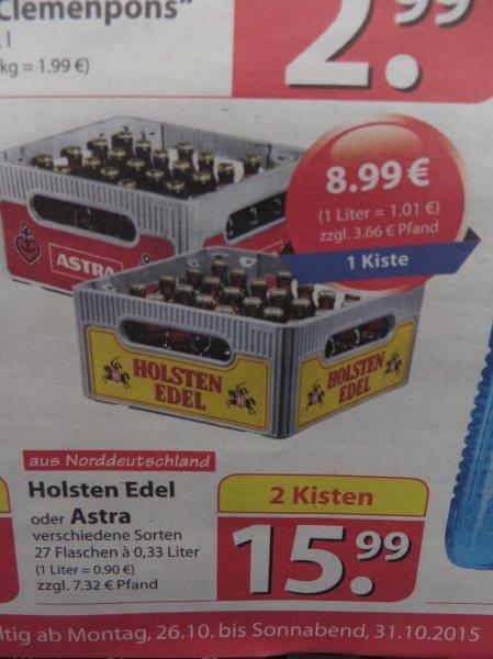 famila (Nordost) +++ Holsten Edel oder Astra 27 Flaschen in Kiste +++ ab Montag 26.10. bis 31.10.15  2 (!)  Kisten für 15,99 € zzgl. Pfand 7,32 €
