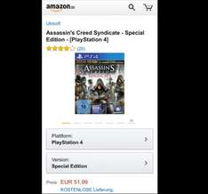 Assassin's Creed Syndicate Special Edition (Playstation 4,Xbox one)