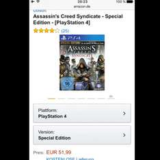 Assassin's Creed Syndicate Special Edition (Playstation 4, Xbox one)
