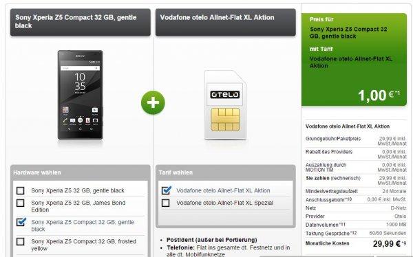 Sony Z5 Compact mit otelo Allnet-Flat XL Aktion 1GB 29,99/€