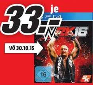 [Lokal Mediamarkt Neuss] WWE 2K16 (PS4) für 33,-€....Vö.Datum 30.10 und daher nicht mit der 3für2 Aktion kombinierbar
