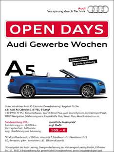 [Selbständige] Audi A5 Cabriolet, 24 Monate Leasing, 169,- mtl. netto