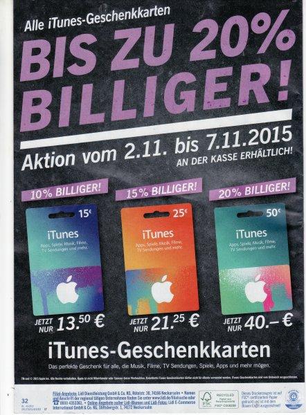 Lidl vom 02.11.2015 - 07.11.2015: iTunes-Geschenkkarten günstiger (15/25/50 Euro für 13,50/21,25/40,00 Euro)