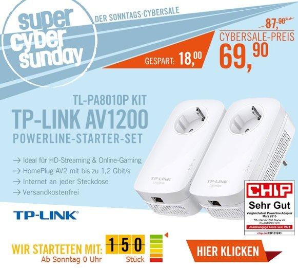[Cyberport-Ab 24.00 Uhr] TP-LINK TL-PA8010P KIT AV1200 Powerline 2er KIT (1x LAN) für 69,90€ Versandkostenfrei