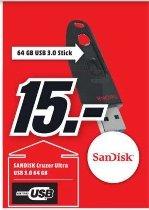 [Lokal Mediamarkt Ingolstadt] Nur gültig am Montag zw.06.00-08.00 Uhr...SanDisk Ultra 64GB - USB-Stick, 64 GB, USB 3.0, schwarz für 15,-€