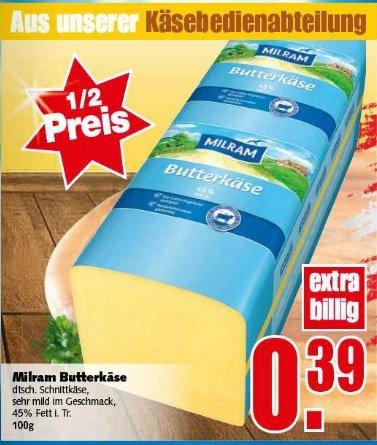 Frischer MILRAM Butterkäse ab Montag 50% günstiger bei Edeka (E-Center)