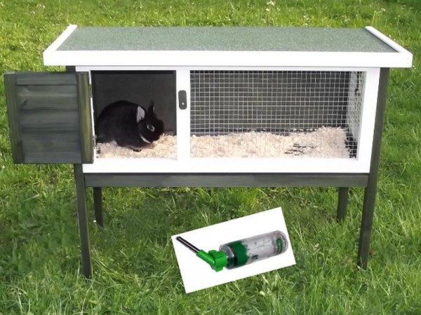 Hasenstall Kaninchenstall, Holz Dunkelgrün ca. 91cm x 45cm x 70cm + Trinkflasche für 46,50 @ebay