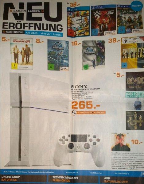 [Sammeldeal LOKAL Neueröffnung Saturn Aachen am 28.10.2015] z.B. PS4 White, neu, 500GB mit einem Controller, 265€, PS4 Spiele