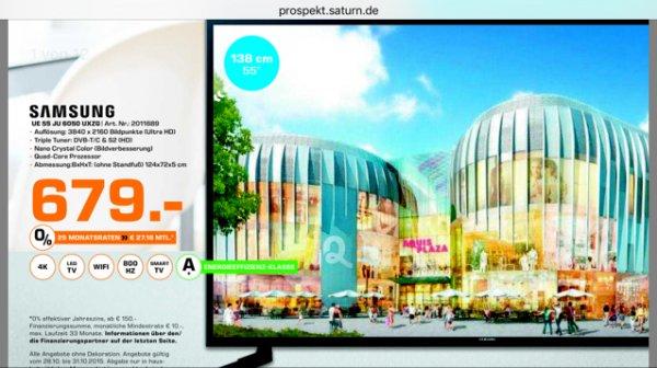 Samsung 4K 55 Zoll JU 60 50 UXZG mit Smart TV 800 HZ LOKAL IN AACHEN SATURN