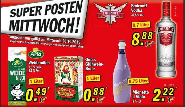 Zimmermann, Super-Mittwoch, Arla Milch 1l für 0,49 €, Glühwein 1l nur 0,88 €, Mionetto 0,75l nur 2,22 €, Smirnoff Vodka 0,7l nur 8,88€