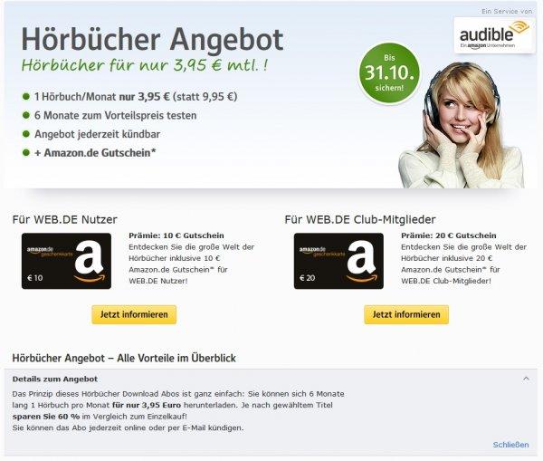 6 Monate audible Hörbuch für 3,95 € / Monat abonieren & 10 € Amazon Gutschein als Prämie